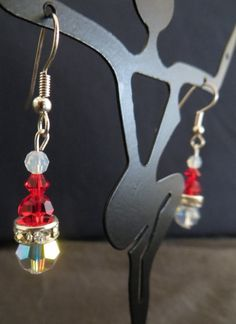 Festive Red Swarovski Crystal Santa Clause Hat Christmas Earrings by  DreamFancy Holiday gift  a649017fbf9cd