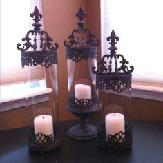 Gothic candle holders from Hobby Lobby. by digitaleuphoria Gothic Kerzenhalter von Hobby Lobby. Gothic Furniture, Furniture Decor, Hobby Lobby, Chandelier Bougie, Bedroom Candles, Gothic Bedroom, Goth Home, Wall Candle Holders, Pretty Bedroom