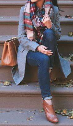 #fall #fashion / tartan scarf