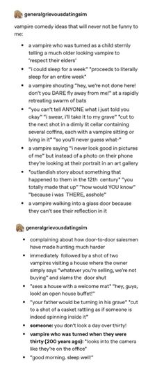 Creative Writing Prompts, Book Writing Tips, Writing Help, Dialogue Prompts, Story Prompts, Vampire Tumblr, Stupid Funny, Hilarious, Vampire Stories