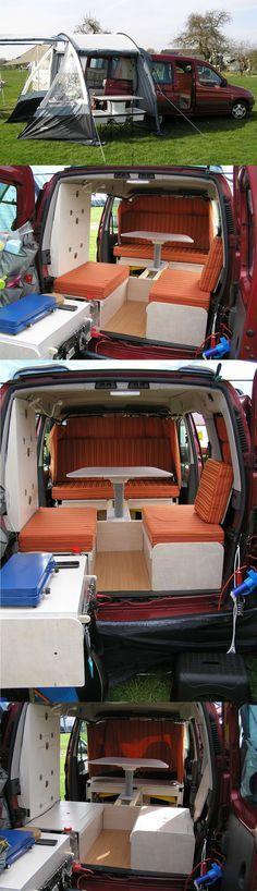 There are a lot of excellent family cars and trucks out there, but none provides anything near to the purpose-built usefulness of the minivan. Car Camper, Mini Camper, Camper Caravan, Rv Campers, Auto Camping, Minivan Camping, Camping Hacks, Motorhome, Berlingo Camper