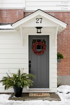 Cozy.Cottage.Cute.: Our Exterior Side Entry -Door Colour - Iron Mountain by Benjamin Moore