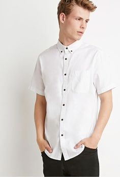 Button-Collar Shirt | 21 MEN - 2000155122 A white short sleeve button up shirt is always good to have. I need a new one.