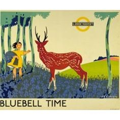 Bluebell Time by Anna Katrina Zinkeisen, 1934 London Transport Museum Posters Uk, Train Posters, Railway Posters, Poster Prints, Kew Gardens London, London Transport Museum, Public Transport, Museum Poster, London Poster