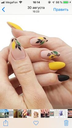 Fall dusty yellow nails with a delicate leaf design.❤ Fall dusty yellow nails with a delicate leaf design. Yellow Nail Polish, Yellow Nail Art, Yellow Nails Design, Pretty Nail Art, Dream Nails, Cute Acrylic Nails, Stylish Nails, Purple Nails, Nagel Gel