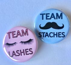Lashes and staches pack) gender reveal party favors inch or inch pinback buttons to wear Baby gender reveal party Gender Reveal Box, Gender Reveal Party Games, Gender Reveal Themes, Pregnancy Gender Reveal, Gender Reveal Party Decorations, Gender Party, Baby Shower Gender Reveal, Reveal Parties, Baby Reveal Ideas