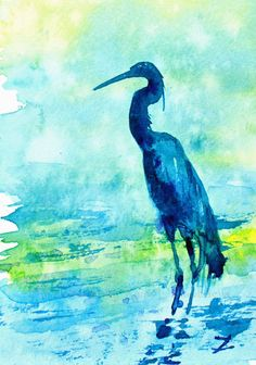 "Heron on the Shore. ©Watercolor by Zaira Dzhaubaeva. Size: 4"" x 6"". www.zairaartgallery.com Original painting is $50. #heron #shore #buyoriginalart #watercolorpainting #egret #bird #birds #beach #water #sea #ocean #lake #river #nature #wildlife #animals #blue #green #yellow #gift #present #ZairaDzhaubaeva #ZairaArtGallery #onlinegallery #directfromartist #professional #artist #Russian #popular #famous #wellknown #buy #bright #colorful #wallart #affordable #miniature #smallpainting #reliable"