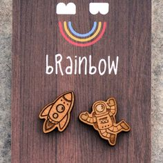Wooden Astronaut and Rocket Earrings by bRainbowshop on Etsy https://www.etsy.com/listing/169032964/wooden-astronaut-and-rocket-earrings