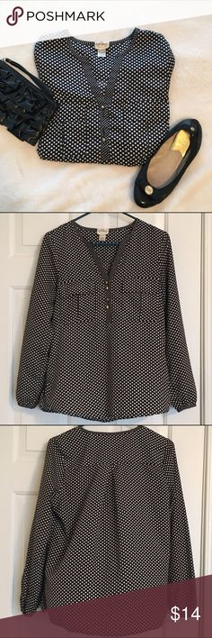 Polka dot blouse Long sleeved polka dot blouse with starburst trim. Silky material. Shirt is in excellent condition, buttons are starting to show tarnish (not very noticeable- see pic). Belle Du Jour Tops Blouses