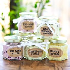 DIY Honey Butter Red Wine Butter Lemon-Dill Butter and.wait for it. Perfect for the holidays! Wine Butter, Flavored Butter, Homemade Butter, Homemade Gifts, Herb Butter, Flavoured Salt, Diy Food Gifts, Flavored Oils, Infused Oils