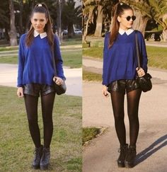 Leather shorts with blue sweater