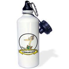 3dRose Funny Worlds Greatest Librarian II Cartoon, Sports Water Bottle, 21oz