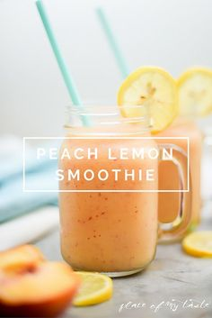 Healthy smoothie recipes and easy ideas perfect for breakfast, energy. Low calorie and high protein recipes for weightloss and to lose weight. Simple homemade recipe ideas that kids love. | Peach Lemon Smoothie | diyjoy.com/...