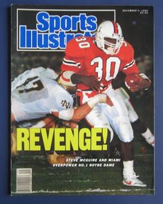 December 4 1989 Steve McGuire Miami Hurricanes Sports Illustrated for sale online Canes Football, Miami Football, Arena Football, Nfl Football Players, Notre Dame Football, College Football, Football Helmets, Emily Ratajkowski Sports Illustrated, Si Cover