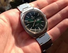Vintage Tissot Seastar Automatic Day Date Amazing Soleil Green Dial