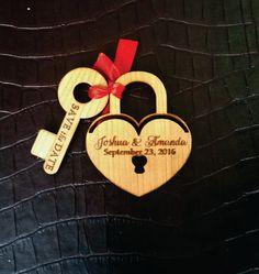 Beautiful padlock and key save the date / by WoodWeddingDreams
