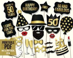 50th birthday photo booth props: printable PDF. por HatAcrobat