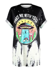 UFO take me with you t shirt for men short sleeve