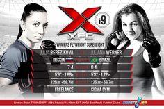 MAIN CARD: Women's Flyweight Superfight Julia Berezikova 7-4 (RUS) vs. Juliana Werner 8-4 (BR)  See more at www.XFCMMA.com/XFCi9 #XFC #MMA #WMMA #flyweight #superfight #tournament #SaoPaulo #Brazil #RedeTV March 14th
