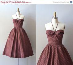 25 OFF SALE.... vintage 50s dress / 1950s halter by DearGolden, $216.00