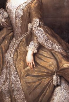 """""""Luise Ulrike of Prussia, Queen of Sweden"""" (1744) (detail), by Antoine Pesne  (1683 1757)"""