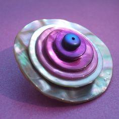 Purple shell button brooch