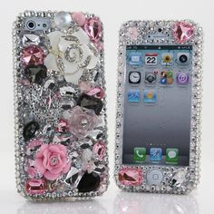 iPhone 5 5S 5C 4/4S - Samsung Galaxy S3 S4 Note2 3 - Handgemaakte Case Faceplate 3D Luxe Bling Crystal Diamond Roze Wit Zilver Rose_405