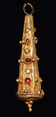 Rare Ancient Byzantine Gold & Garnet Pendant 4th century AD Price: call-415-776-0104 Item Number: 5213 Description: A Byzantine Gold Pendant, Circa 4th-8th century AD. This gold pendant evidences the excellent level of metalworking skills of the ancient goldsmiths.