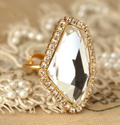 Crystal Statement geometric ring  Swarovski white by iloniti