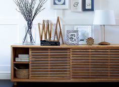 The Aiken sideboard, part of Marks & Spencer's Conran range has contemporary slatted sliding doors making it ideal for storage. Mid Century Sideboard, Oak Sideboard, Sideboard Ideas, Retro Sideboard, Tv Furniture, Design Furniture, Muebles Living, Side Board, Ideal Home