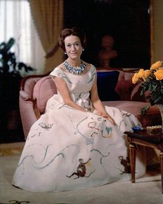 "Duchess of Windsor. Photo by Bachrach. The famous ""'Monkey"" dress"
