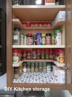 Kitchen Remodeling Ideas diy spicy shelf organizer, kitchen cabinets, organizing, shelving ideas - Just Say NO to As Seen On TV Spicy Shelf Organizer.and YES to DIY! - Depending on the size of your cabinet, you can get of these DIY spice shelves for ar Spice Organization, Kitchen Cabinet Organization, Cabinet Ideas, Kitchen Shelf Organizer, Organizing Ideas, Cabinet Decor, Cabinet Organizers, Cabinet Refacing, Cabinet Colors