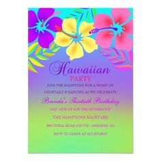 Custom Rainbow Hawaiian Flower Birthday Invitation created by ChasingTheWolf. This invitation design is available on many paper types and is completely custom printed. Rainbow Birthday Party, 60th Birthday Party, Flower Birthday, Luau Party, Luau Invitations, Birthday Party Invitations, Custom Invitations, Party Favors For Adults, Hawaiian Flowers