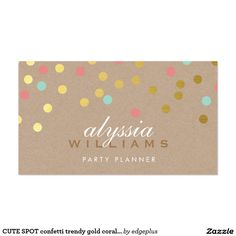 CUTE SPOT confetti trendy gold coral mint kraft Business Card