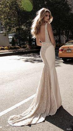 berta fall 2017 bridal sleeveless with strap deep plunging v neck heavily embellished bodice elegant sexy sheath wedding dress low back sweep train (003) bv