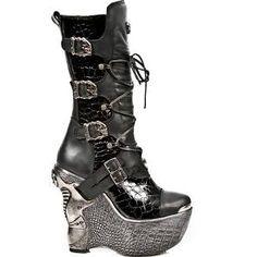 M.PZ003-C2 Black Patent New Rock Snakeskin Platform Boots Size 5