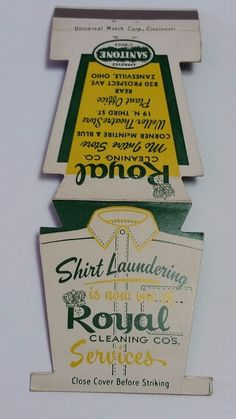 ROYAL CLEANING CO. ZANESVILLE OHIO JEWELITE Matchbook Matchcover