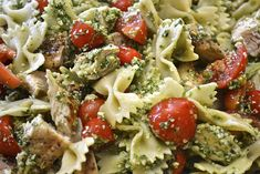 Grilled Chicken and Spinach Basil Pesto Farfalle....this was sooo good!! Tip: The more tomatoes the better and add olive oil to the sauce to give it a more authentic pesto flavor. Will be making this again...soon.