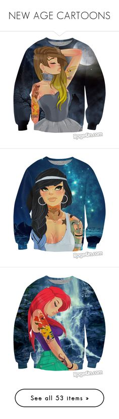 """NEW AGE CARTOONS"" by blacke-nyla-alsina ❤ liked on Polyvore featuring tops, hoodies, sweatshirts, shirts, sweaters, disney, crew neck sweatshirts, crew neck top, long length shirts and crewneck shirts"