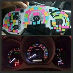 Post its under your dash board=cool colored dashboard lights! I want it!