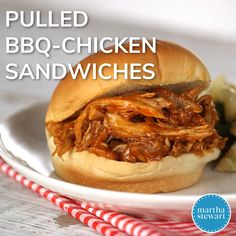 Pulled Barbecue-Chicken Sandwiches Here's a recipe for a satisfying and easy anytime meal. Chicken thighs are seared until golden, then simmered with beer and an easy homemade BBQ sauce until irresistibly tender for the filling of these hearty sandwiches. Pulled Chicken Sandwiches, Chicken Sandwich Recipes, Recipe For Sandwich, Chicken Sandwich Filling, Pulled Chicken Recipes, Bbq Sandwich, Vegan Sandwiches, Chicken Dips, Baked Chicken