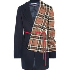 Jacquemus Paneled checked wool-blend blazer (3 520 PLN) ❤ liked on Polyvore featuring outerwear, jackets, blazers, navy, navy blazer, wool-blend jacket, blazer jacket, checkered jacket and wool blend blazer