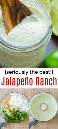 Jalapeno Ranch (Dressing, Dip and Sauce!) Seriously takes 5 minutes! You will want this Jalapeno Ranch Dressing, Dip and Sauce on everything! It has a thick creamy base, lightened up with cilantro, lime juice and jalapeno. It's highly addictive! Jalapeno Ranch Dressing, Mexican Ranch Dressing Recipe, Creamy Cilantro Lime Dressing Recipe, Healthy Ranch Dressing, Ranch Dressing Mix, Homemade Ranch Dressing, Italian Dressing, Sauce Recipes, Cooking Recipes