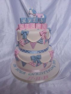 Boy and girl joint christening cake Baby Christening Cakes, Baptism Cakes, Naming Ceremony, Communion Cakes, Boy Baptism, Cakes For Boys, Girl Cakes, Cute Cakes, Baby Shower Cakes