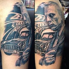 Check out the license plate in this great piece by Guy Tinsley. #inked #tattoo #james #bond #ink #007 #car #license #plate #movie