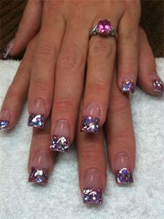 Spring pink colored acrylic nails