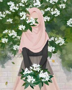 art animasi hijab and flowers Hijab Drawing, Islamic Cartoon, Globe Art, Hijab Cartoon, Muslim Beauty, Islamic Girl, Turu, Cute Girl Wallpaper, Islamic Wallpaper