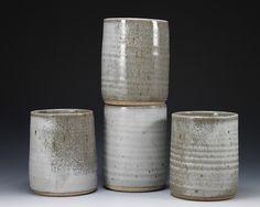 Elegant White Stoneware Cup Set - grey glaze