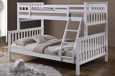 The 'Oscar' Solid Wooden Triple Sleeper Bunk Bed by 'Sleep Design' is a fantastic space-saving solution for smaller rooms or for larger families. The 'Oscar' Triple Sleeper bunk be Bunk Bed With Desk, Bunk Beds With Stairs, Kids Bunk Beds, Triple Sleeper Bunk Bed, Triple Bunk Beds, Single Bunk Bed, Single Size Bed, Cool Beds For Kids, Kids Bed Frames