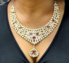 20 K solid gold Kundan meena work Diamond necklace - 2-260...these are cray gorgeous but cray expensive...